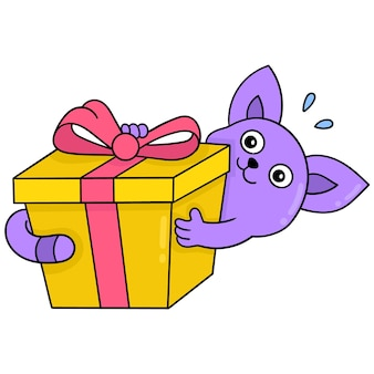 De doos van de verjaardagsgift die door een kattenverrassing wordt gegeven, vectorillustratieart. doodle pictogram afbeelding kawaii.