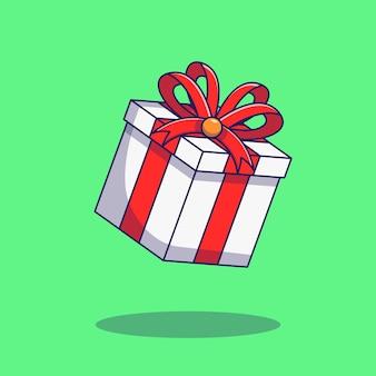 De doos van de verrassingsgift die op groen wordt geïsoleerd