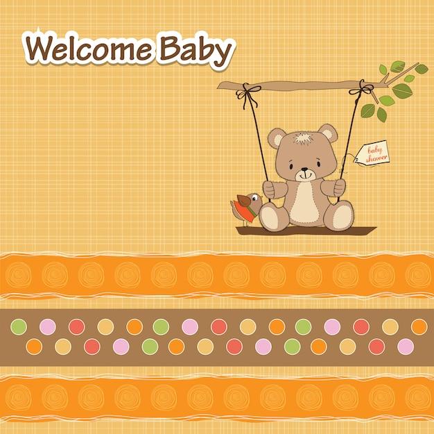 De douchekaart van de baby met teddybeer