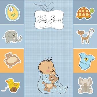 De douchekaart van de baby met weinig babyjongen