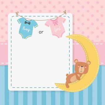 De douchekaart van de baby met weinig teddy beer en maan