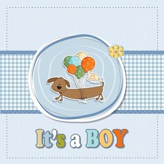 De douchekaart van de babyjongen met lange hond en ballons