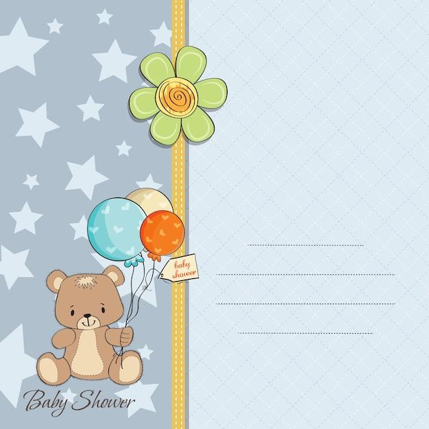 De douchekaart van de babyjongen met leuke teddybeer