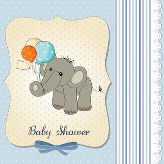 De douchekaart van de babyjongen met olifant en ballons Premium Vector