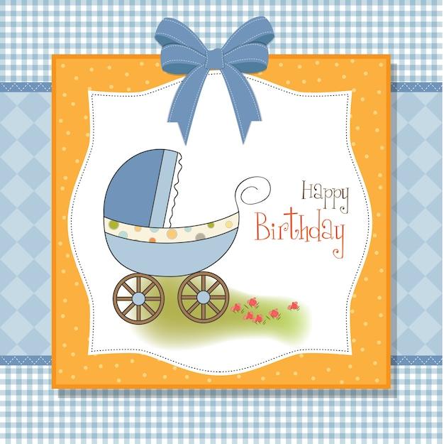 De douchekaart van de babyjongen met wandelwagen