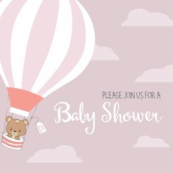 De douchekaart van het babymeisje met hete luchtballon