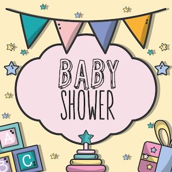 De doucheuitnodiging van de baby met decoratieontwerp