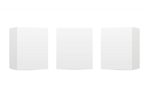 De dozen bespotten omhoog geïsoleerd op witte achtergrond