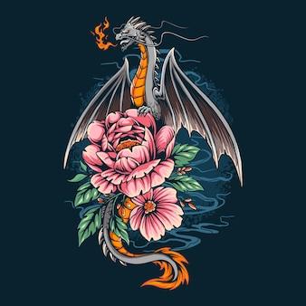 De draak gaf een vuur op een mooie bloem