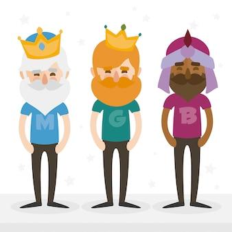 De drie hipsters koningen van orient op een witte achtergrond