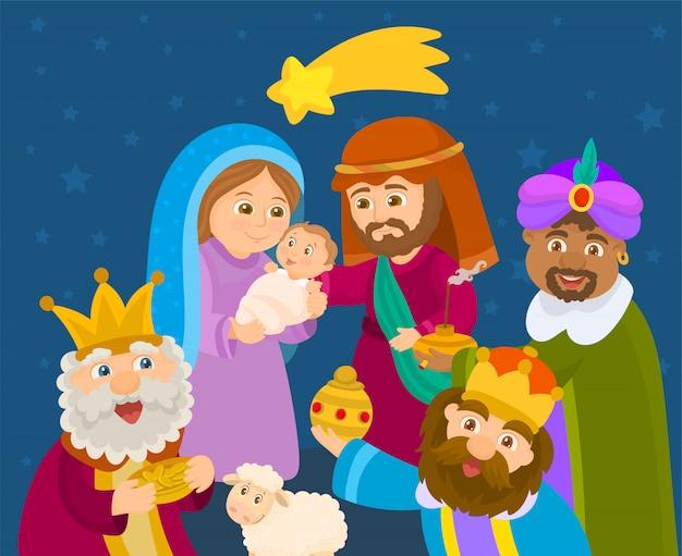 De drie koningen brengen geschenken aan jezus