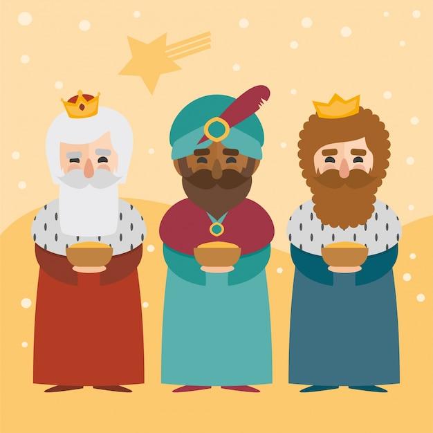 De drie koningen van oosten op een gele achtergrond