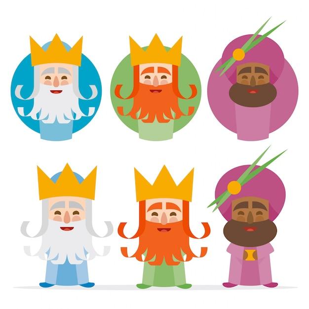 De drie koningen van oosten op een witte achtergrond