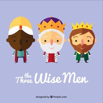 De drie wijze mannen in cartoon-stijl