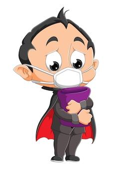 De droevige dracula-jongen draagt het masker van illustratie