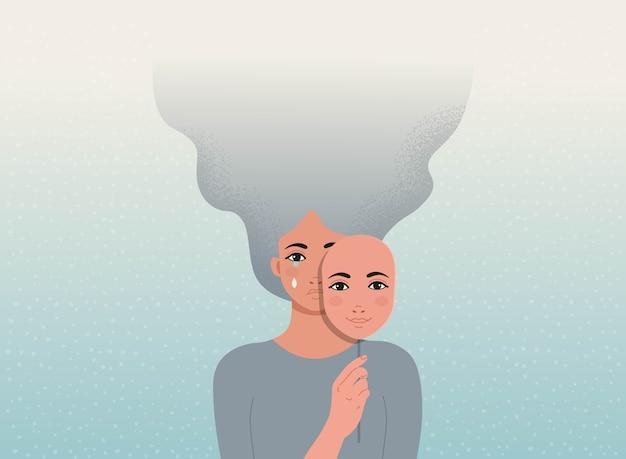 De droevige vrouw bedekt haar gezicht met een lachend masker. concept goed en slecht humeur.