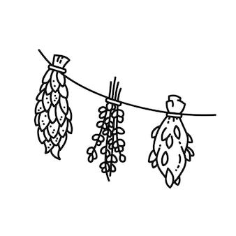 De droge kruiden siert vlakke vectorillustratiestijl