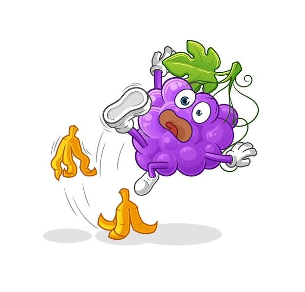De druif gleed uit over banaan. cartoon mascotte