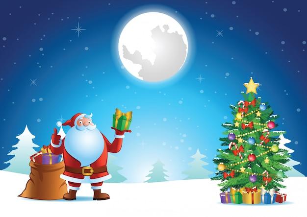 De duim van de kerstman omhoog en toont gift bij kerstmisnacht