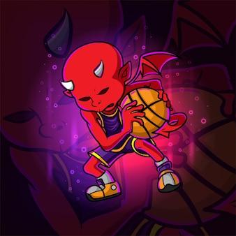 De duivel die het basketbal esport-mascotteontwerp van illustratie hoedt
