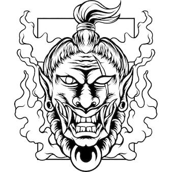 De duivel samurai japan silhouet
