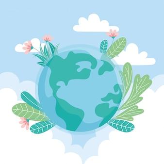 De ecologiewereld met bloemen verlaat wolken sparen planeet beschermt aard en ecologieconcept