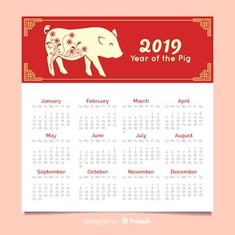 De eenvoudige kalender van het varken chinese nieuwe jaar