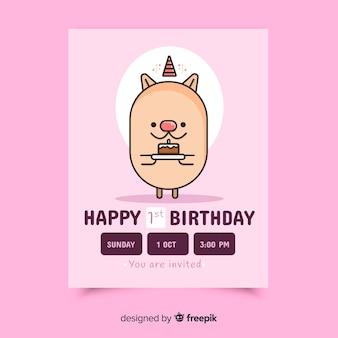 De eerste kaart van de verjaardagsuitnodiging met mooi karakter