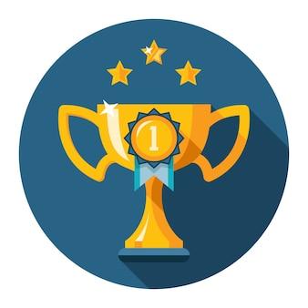 De eerste plaats trofee. gouden winnaar beker platte pictogram. vector illustratie