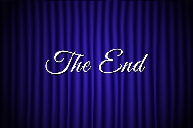 De einde-tekst op een blauwe achtergrond