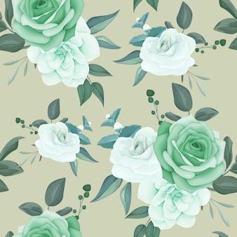 De elegante naadloze bloem en de bladeren van het patroongroen