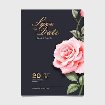 De elegante waterverf bewaart de datumkaart met roze bloem