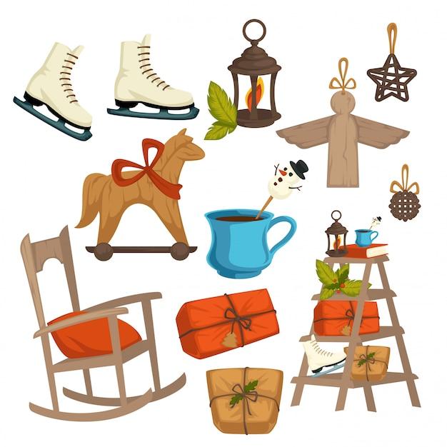 De elementen van de de wintervakantie van plattelandskerstmis, symbolen van viering