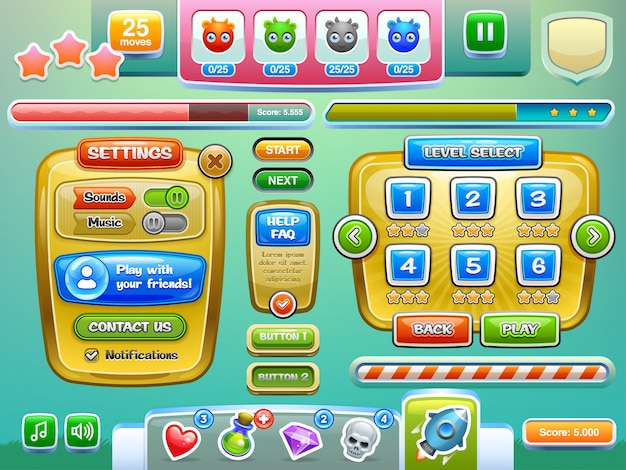 De elementen van de game-interface.