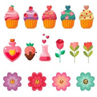 De elementen van de valentijnskaart koeken snoepjes en bloem