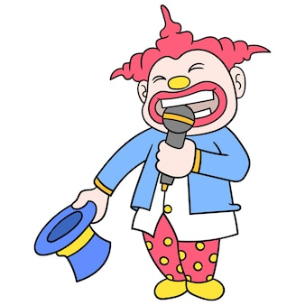 De emcee-clown met een blij gezicht, vectorillustratieart. doodle pictogram afbeelding kawaii.
