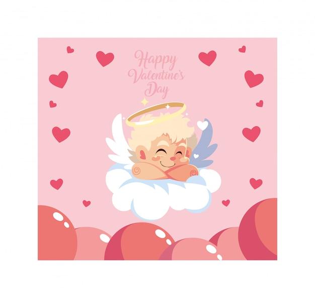 De engelenslaap van de cupido op een wolk, valentijnskaartendag