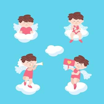 De engelenzitting van de cupido op de dag van de wolkenvalentijnskaart