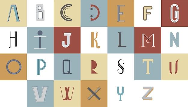 De engelse typografische illustratie van het alfabet