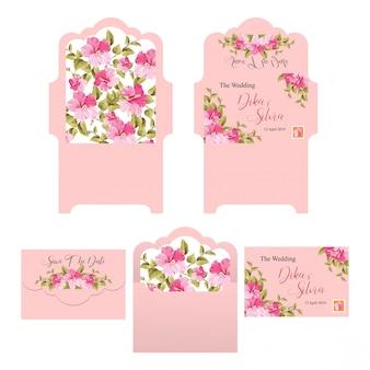 De envelopmalplaatjes van de huwelijksuitnodiging met roze achtergronden