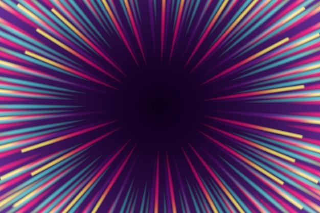 De explosie van kleuren kopieert ruimte de achtergrond van snelheidslichten