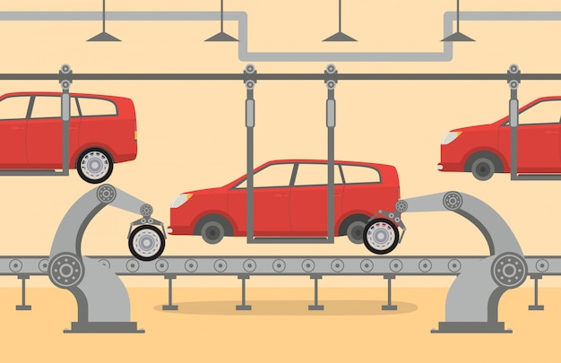De fabriek transportband op de assemblage van auto robots robot hand, arm, aanwijsapparaat.