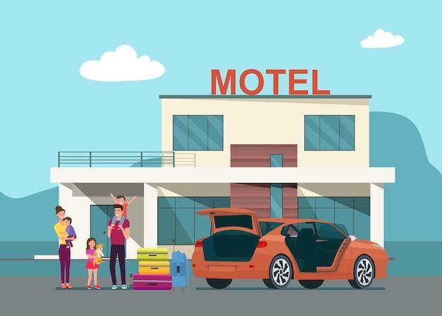 De familie arriveert bij het motel en haalt hun bagage uit de kofferbak van hun auto. vlakke stijl illustratie.