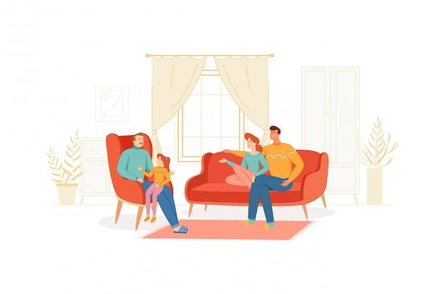 De familie brengt samen tijd door in een gezellige woonkamer.