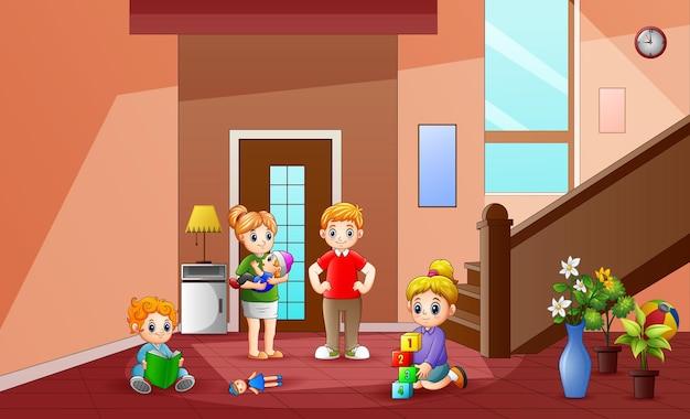 De familie brengt tijd thuis door illustratie
