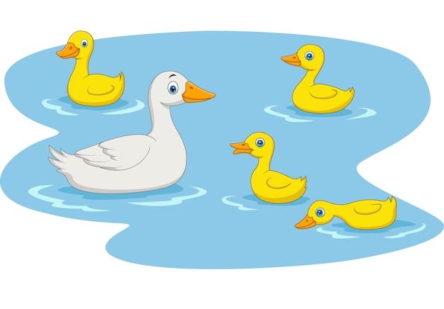 De familie die van de beeldverhaaleend in de vijver zwemmen