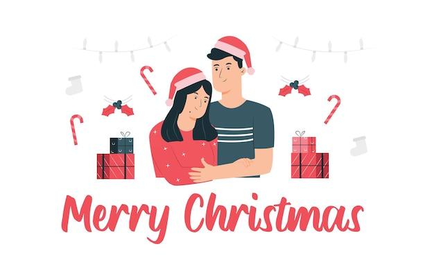 De familie herdenkt samen kerstmis vectorillustratie
