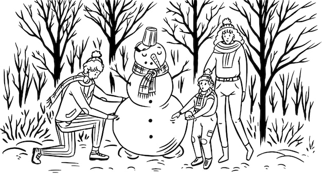 De familie maakt een sneeuwpop voor kerstmis.