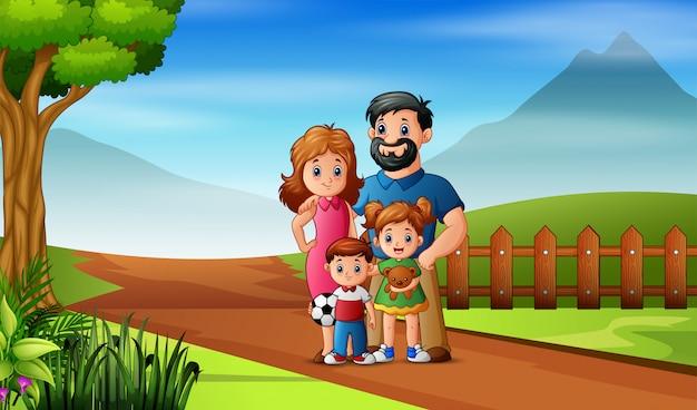 De familie speelt in het veld