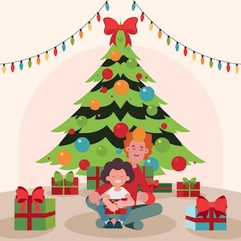De familiescène van kerstmis met boom en koordlichten